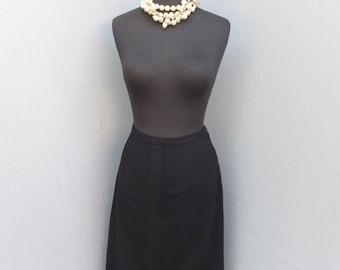 Vintage Black Wool Pencil, Pin Up, Cigarette Skirt, Secretary or Career Skirt   Waist 28