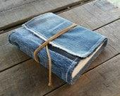 Upcycled Blue Jean Journal, Medium Soft Cover Denim Journal Tie Wrap, Repurposed Blue Denim Art Journal , Medium Handmade Denim Sketchbook