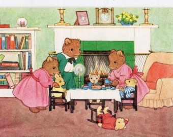Fantasy Teddy Bear Family, Tea-Party, Artist Margaret Tempest,  Dressed animals, Pk 441 vintage postcard
