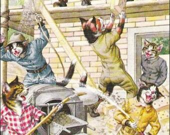 Mainzer postcard, Mainzer cats, Construction Worker Cats,  dressed cats vintage postcard 4747, cat postcard, cats postcard