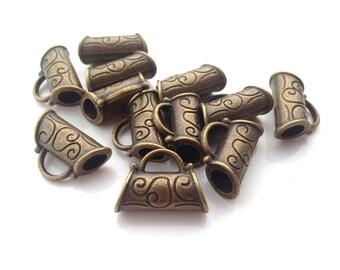 10 Pieces Antique Brass Tone Base Metal Bails-21x15mm (10878Y-C-274)
