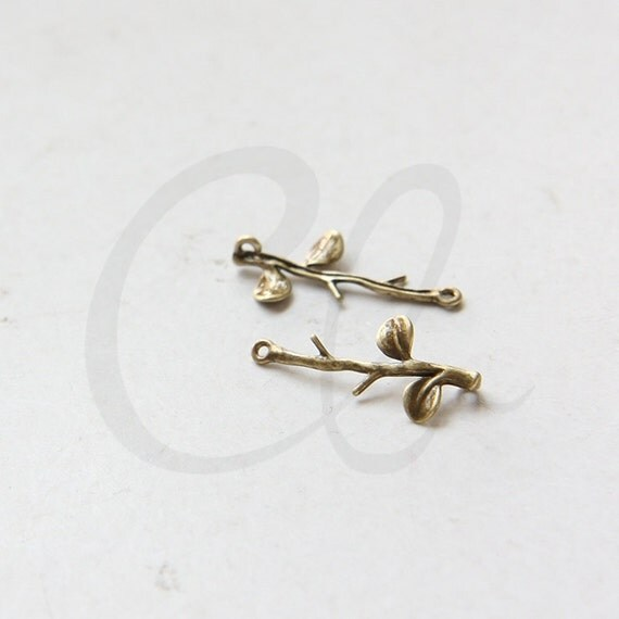 2pcs Antique Brass Metal Links-Leaf with Branch 24x11mm (1877C-H-245)
