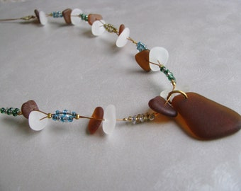 Eco Friendly Sea Glass Necklace - Whimsical Beach Glass Necklace - Amber Sea Glass