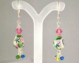 Earrings Handmade, Silver Earrings, Dangle Earrings, Polymer Earrings, Ready to Ship, Drop Earrings, Flower  Earrings, Statement Earrings