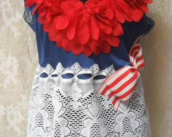30% OFF - June Sale TUNIC Top Tank 4th of July Lace Picinic Celebration Patroit Boho Flag Day