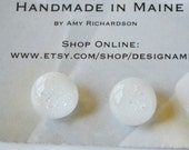 White fused glass post button earrings-made in maine jewelry-hand made jewelry