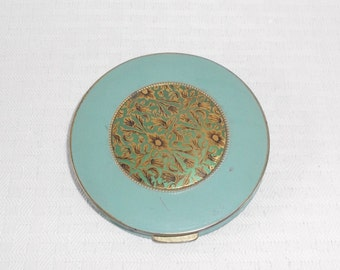 1920s Vintage Blue Enamel Compact with Gold Floral Center TLC