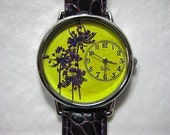 Womens Watch, Trees in the Sun, Yellow Wrist Watch with Purple Queen Anne Lace and Leather Band
