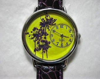 Women's Watch, Trees in the Sun, Yellow Wrist Watch with Purple Queen Anne Lace and Leather Band,Watch for Women,Pressed Flower Watch