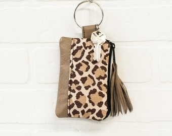 recycled tan leather keychain, leopard print, wallet, coin purse, key ring, key pouch, tassel, card holder, handmade, upcycled, stacylynnc