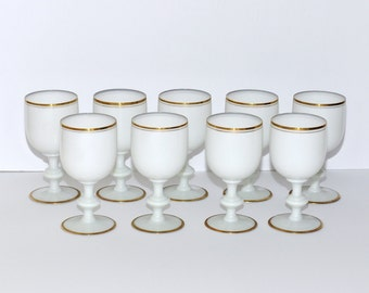Vintage Portieux Vallerysthal PV France White Opaline with Gold Gilt Water Goblets, Set of 9