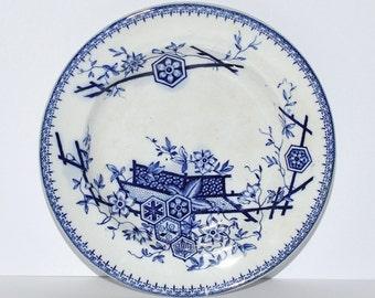 Antique Flow Blue Pottery Tonquin Ceramic Plate, Oriental Motif