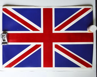Union Jack Poster England Flag Poster Flocked Poster Great Britain Flag Fuzzy Poster Vintage Poster