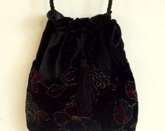 Metallic Gold and Burgundy Floral  Velvet  Bag Black Velvet Bag  Boho Bag  Black Bag With Tassel  Renaissance Bag
