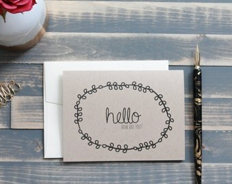 Ready to Ship Rustic Wreath Hello Note Card - Boxed Stationery Set - Single Card - Alyse