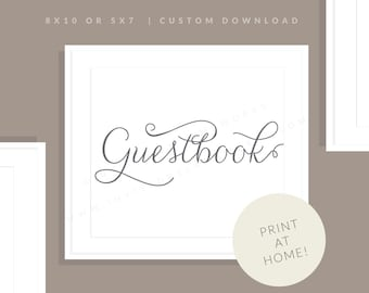 Gray Printable Guestbook Sign | Printable Guest Book Sign | Downloadable Wedding Sign | Printable Reception Sign | Jessica Collection