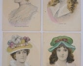 """Antique Postcards - Set of Four Portraits of Women """"The Squire's Daughter"""", """"A Bonnie Lass"""", """"An English Rose"""" and """"A Daughter of Erin"""""""