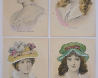"Antique Postcards - Set of Four Portraits of Women ""The Squire's Daughter"", ""A Bonnie Lass"", ""An English Rose"" and ""A Daughter of Erin"""
