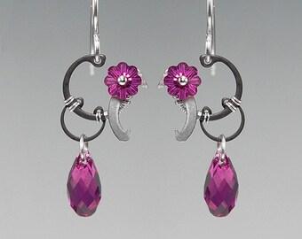 Time II v10: Fuchsia Swarovski crystal steampunk earrings