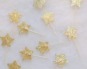NEW Gold Glitter Star Cupcake Toppers - set of 12