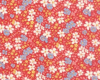 FAT QUARTER 30s Playtime 2015 reproduction print Red Floral 1/2 Yard