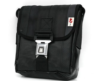 416I Mini Messenger bag from RECYCLED car seatbelt, reclaimed car seat leather, reused truck tarp & automotive buckle