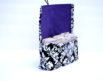 Coupon Organizer Holder Damask Fabric Black and White with Purple  Lining