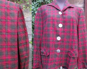 SALE Vintage Red Plaid Jacket, Pendleton Wool Coat, Woman's Vintage Plaid
