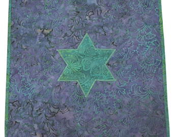 Judaica Quilt Star of David Wall Hanging Challah Cover in Purple and Green Batik