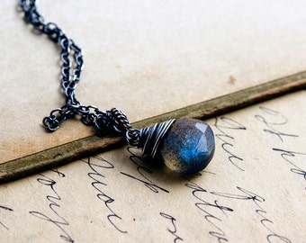 Labradorite Necklace, Gemstone Necklace, Gemstone Pendant, Labradorite Jewelry, Sterling Silver, Thunder Storm, Midnight Blue, PoleStar