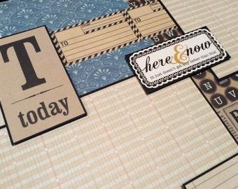 Premade Scrapbook Page, Single Scrapbook layout, 12x12 Scrapbook Album Page, Today, Bingo, Typewriter,