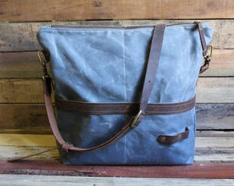 Waxed Canvas Messenger bag, Waxed Canvas Tote, Waxed Canvas bag, Large Zipper tote, large canvas tote, crossbody messenger bag, laptop bag