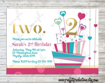 Two mod cake and hearts birthday party invitation - digital file