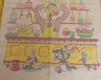 Vintage cartoon character Barth Dreyfuss chef style apron 50s soda fountain
