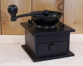 Primitive Antique Coffee Grinder Dovetail Wood and Cast Iron from W H Co