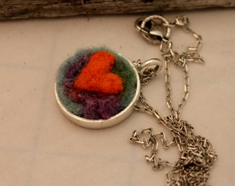 Felted Heart Necklace,Heartscapes Pendant Necklace, Needle Felted Heart  Necklace, Silver Heart Necklace #1678