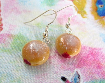 Jelly Donut Charm Earrings - Realistic Miniature Food Polymer Clay Charms