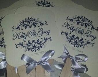 Wedding Fan, Wedding Fan with Monogram, Wedding Favor, Wedding Monogram, Wavy Fan Handle