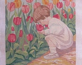 Smelling the Tulips Spring Needlepoint Child Handpainted Canvas Theodora