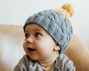 Baby Beanie, Toddler, Misty grey and Yellow, Wool Beanie
