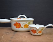 Descoware Autumn Leaves Enamel Cast Iron Cookware, Saucepan and Lid Size 14, Made in Belgium, Butter Warmer, Fall Colors