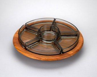 Digsmed Rotating Teak & Glass Serving Tray, Made in Denmark, Lazy Susan Base, Vintage Mid Century Danish Modern Decor