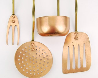 Rustic Copper & Brass Cooking Utensil Set of 4, French Country, Farmhouse, Cottage Style, Vintage Kitchen and Home Decor