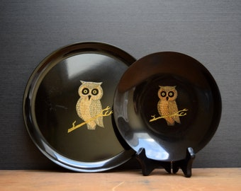 Couroc Owl Tray and Bowl, Set of 2, Matching Owl Designs, Round Drinks Tray and Serving Bowl, Couroc of Monterey