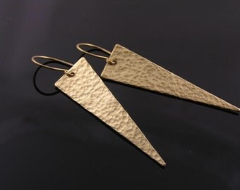 Hammered Earrings, Large Hammered Gold Earrings, Triangle Earrings, Brass Earrings, Artisan Jewelry, Handmade Jewelry, E2204