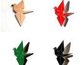 Origami Peace Crane Brooch kawaii japanese laser cut paper japan crane bird pin wooden tasmanian myrtle acrylic red black green makeforgood
