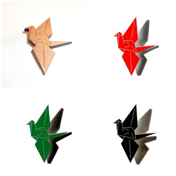 Origami Peace Crane Brooch kawaii japanese laser cut paper japan crane bird pin wooden tasmanian myrtle acrylic red black green makeforgood