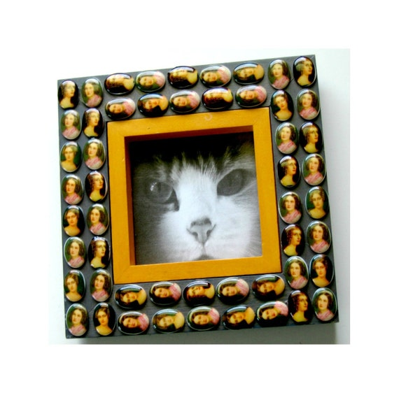 SALE Medallion Frame, Aristocratic Ladies Frame, Mosaic Style Picture Frame, Cameo Grey Yellow Mosaic Frame, Square Mosaic Frame, 4x4 Frame,