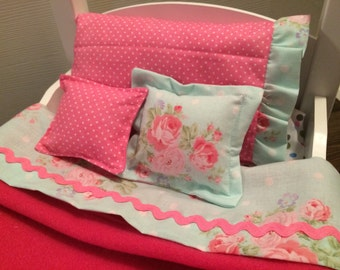 Five Piece 18 Inch Doll Bedding Set-Pink and Light Blue Shabby Chic
