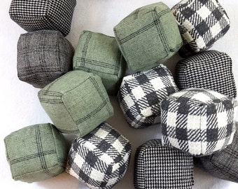 MOVING SALE Wool Plaid Black White Gray and Green Puzzle Pillow 3D Cubes Stuffed Toy Set of 16